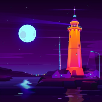 Lighthouse working, glowing at night on seashore cartoon vector.