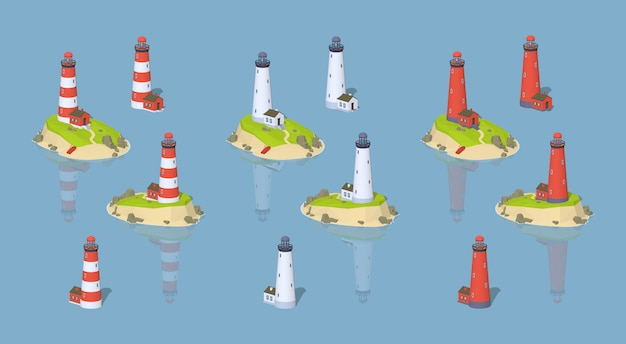 Lighthouses. 3d lowpoly isometric vector illustration.