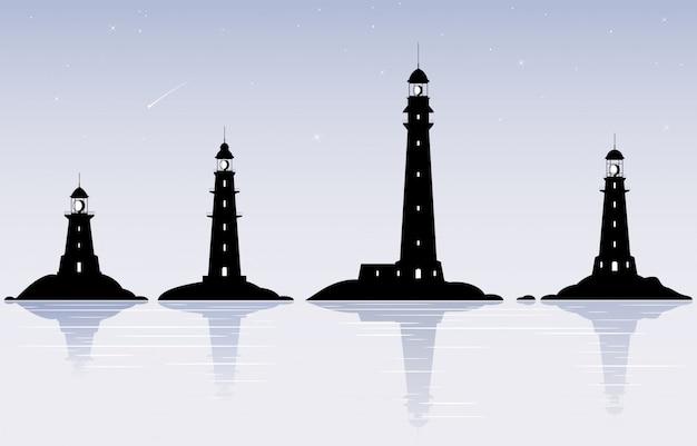 フラットなデザインの灯台イラスト