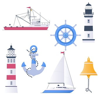 Lighthouses and marine attributes vector set
