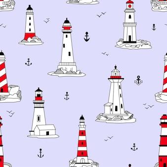 Lighthouses seamless pattern