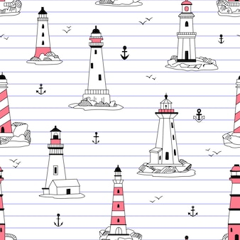 Lighthouses seamless pattern