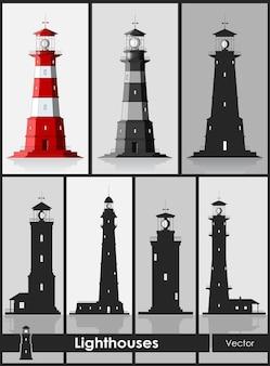 Маяки. набор огромных маяков на сером фоне. векторная иллюстрация.