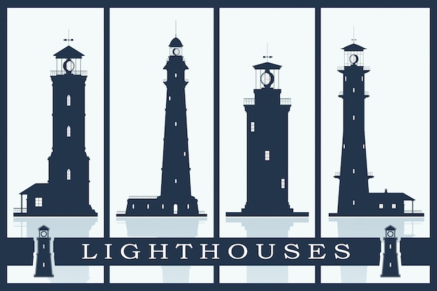 Lighthouses vector set.