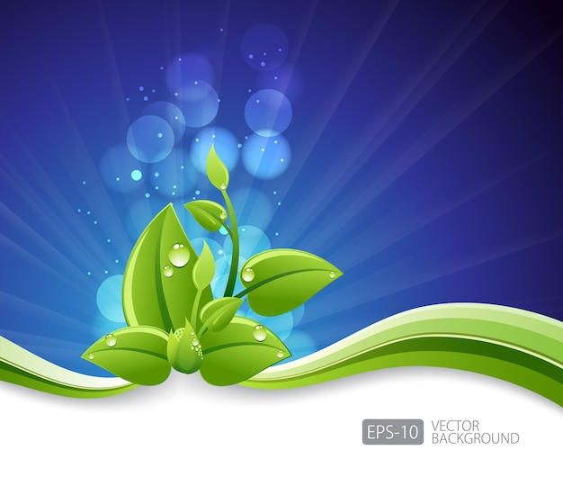 Lighting blue background with eco leaves and green wave