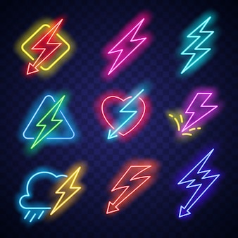 Lighting bolt logo with electric energy neon light