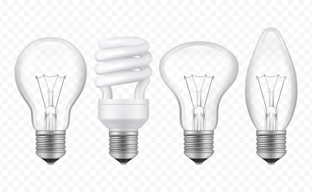Lighting bulb. realistic glass transparent lamp of different styles business creative ideas symbols vector collection