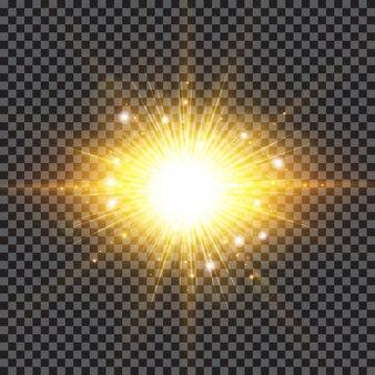 Lighting effect sparkling sun rays burst with splinter flare