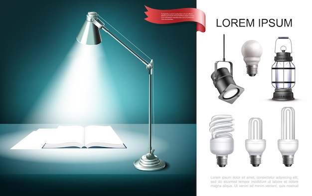 Lighting equipment concept with table lamp shining on book lantern lightbulbs spotlight in realistic style