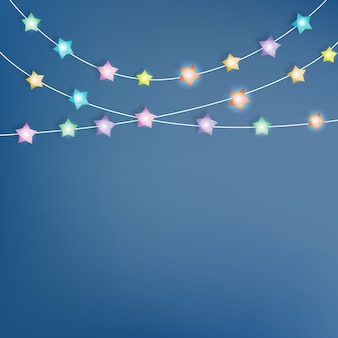 Lighting star paper art vector illustration