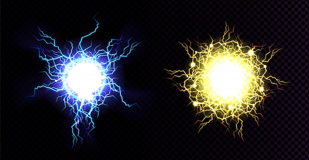 Lightning ball, electric strike impact.