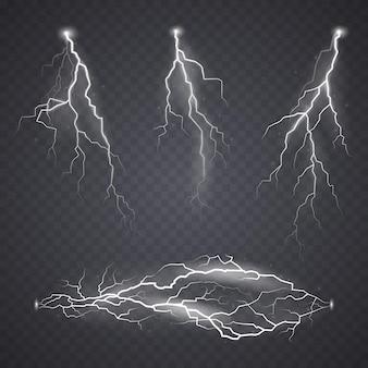Lightning or bolt effect bright realistic flash