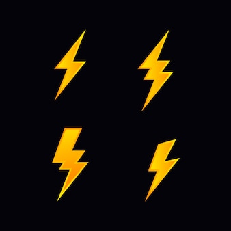 Lightning bolt flash vector icon set