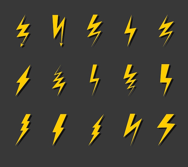 Lightning bolt icon set. thunder flash, electric voltage electricity symbols, simple yellow zig zag silhouette with shadows, thunderbolt sign flat vector collection isolated on black background