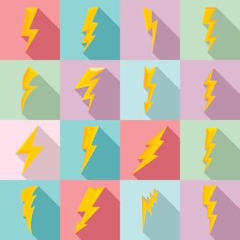 Lightning bolt icons set, flat style