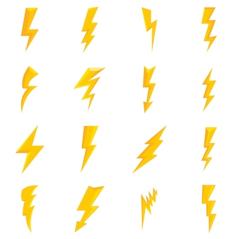 Lightning bolt icons set