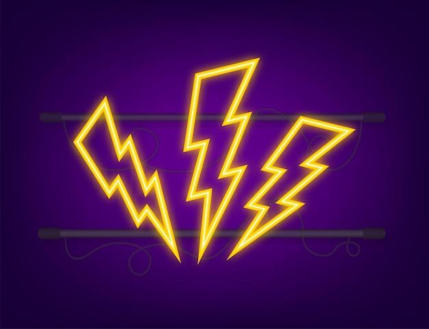 Lightning bolt neon set. thunder bolt, lighting strike expertise. vector illustration.