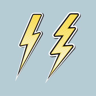 Lightning bolt pop art set