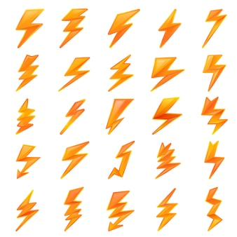 Lightning bolt set, cartoon style
