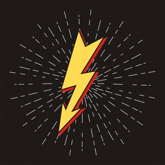 Lightning bolt signs with sunburst effect