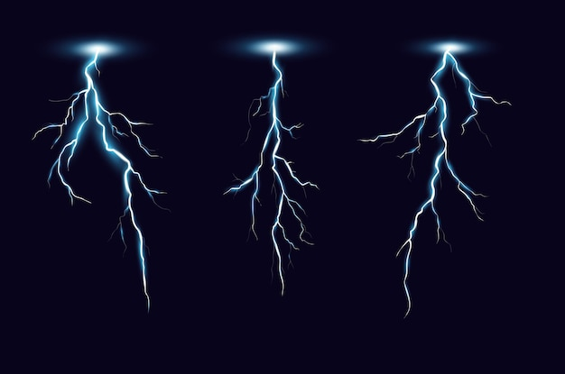 Lightning bolts realistic set. thunderstorm electricity discharge isolated