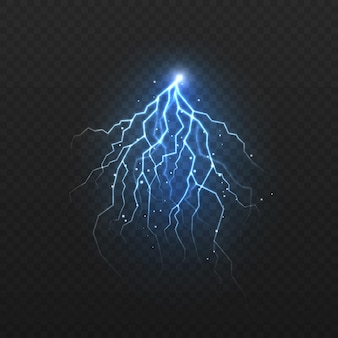Lightning color, glowing thunderbolt and brightning power shock magic lines.