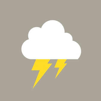 Lightning element, cute weather clipart vector on grey background