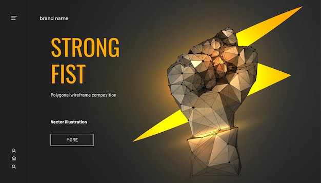 Lightning in fist. low poly wireframe style. business concept of force or power. abstract fist isolated on dark background. particles are connected in a geometric silhouette