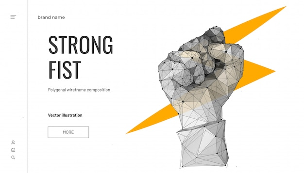 Lightning in fist. low poly wireframe style. business concept of force or power. polygonal geometric fist.