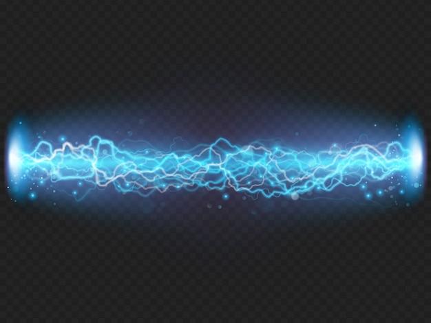 Молния вспышка разряда электричества на прозрачном фоне. синий электрический визуальный эффект.