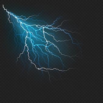 稲妻フラッシュライトのリアルな効果。暗い透明な背景に雷火。