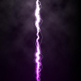 Lightning flash light thunder spark on black background with clouds