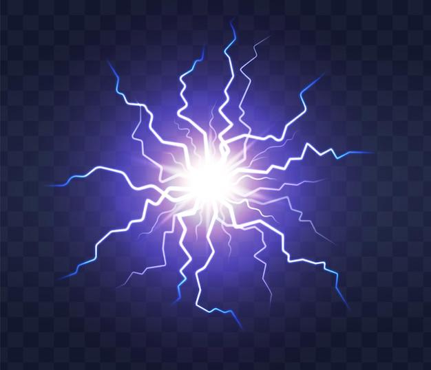 透明な背景に稲妻フラッシュライト雷火花。稲妻、電気ストライクインパクト。リアルなスパークブルーフラッシュ、雷雨の放電