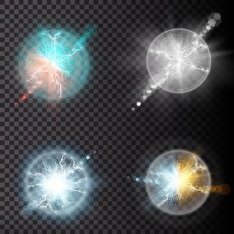 ライトニングフラッシュライトサンダースパーク。火と氷のフラクタル雷、プラズマパワーの図