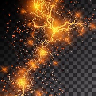 透明な背景に稲妻のフラッシュライトの雷が火花を散らします。火と氷のフラクタル雷、プラズマパワーの背景