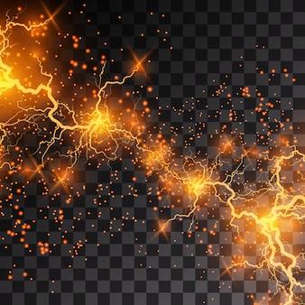 Молния вспышка света гром искры на прозрачном фоне. огонь и лед фрактальная молния, фон мощности плазмы