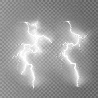 ライトニングフラッシュライトサンダーが透明に火花します。