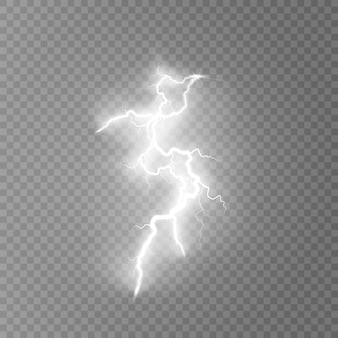 Lightning flash light thunder sparks on transparent