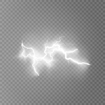 Lightning flash light thunder sparks on transparent