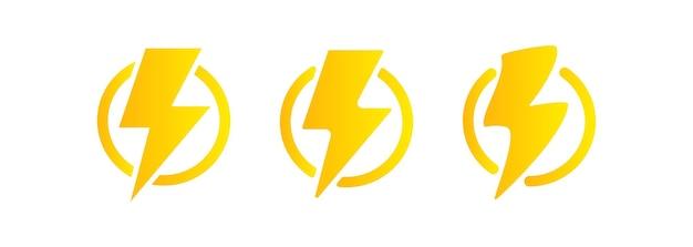 번개 아이콘입니다. 전기 에너지와 천둥 기호 개념입니다. 원 안에 번개. 격리 된 흰색 배경에 벡터입니다. eps 10