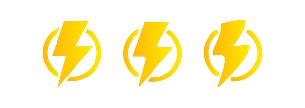 Lightning icon. electricity energy and thunder symbol concept. lightning bolt in a circle. vector on isolated white background. eps 10