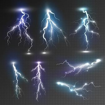 Набор иконок молнии. реалистичный набор иконок молнии для веб, изолированных на прозрачном фоне