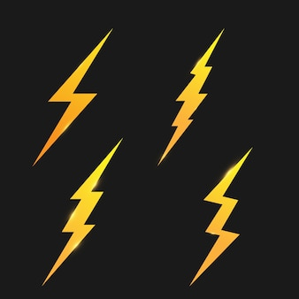 Lightning icons set.