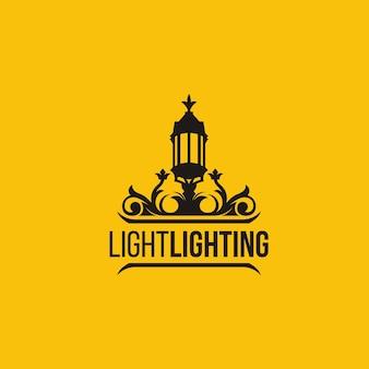 Lightning lantern with background logo template