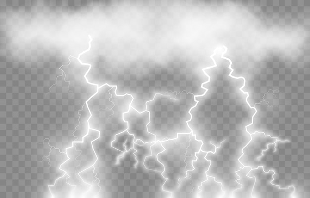 Молния, молния png, гроза, освещение. удары молнии из облака. природное явление, световой эффект.