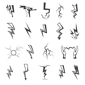 Lightning monochrome icons set