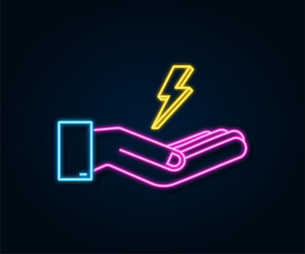 Lightning neon bolt in hands. thunder bolt, lighting strike expertise. vector illustration.