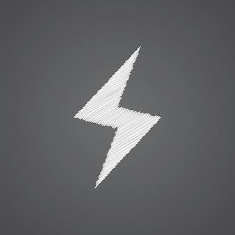 暗い背景に分離された稲妻スケッチロゴ落書きアイコン