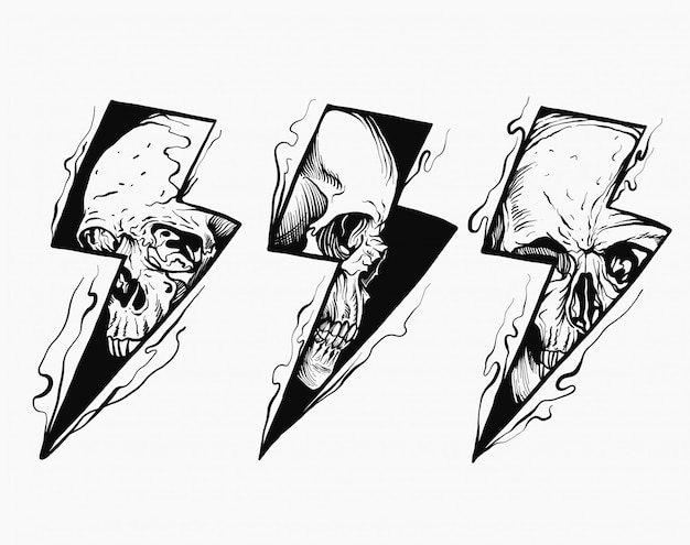 Lightning skull black and white illustration