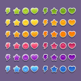 Lightning, star, heart and coin icons for game and app design.